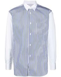 Camisa de manga larga de rayas verticales en blanco y azul marino de Comme Des Garcons SHIRT