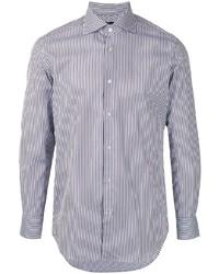 Camisa de manga larga de rayas verticales en blanco y azul marino de D'urban