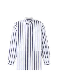 Camisa de manga larga de rayas verticales en blanco y azul marino de E. Tautz