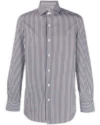 Camisa de manga larga de rayas verticales en blanco y azul marino de Finamore 1925 Napoli