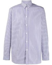 Camisa de manga larga de rayas verticales en blanco y azul marino de Givenchy