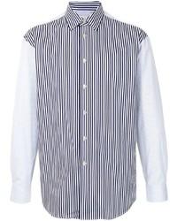 Camisa de manga larga de rayas verticales en blanco y azul marino de Paul Smith