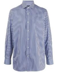 Camisa de manga larga de rayas verticales en blanco y azul marino de Polo Ralph Lauren