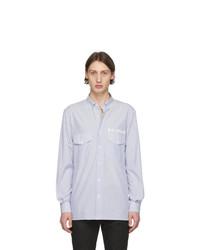 Camisa de manga larga de rayas verticales en blanco y azul de Balmain