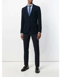 Camisa de manga larga de rayas verticales en blanco y azul de Canali