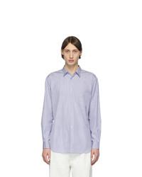 Camisa de manga larga de rayas verticales en blanco y azul de Comme Des Garcons SHIRT