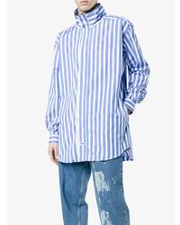 Camisa de manga larga de rayas verticales en blanco y azul de Martine Rose