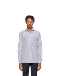 Camisa de manga larga de rayas verticales en blanco y azul de Ermenegildo Zegna