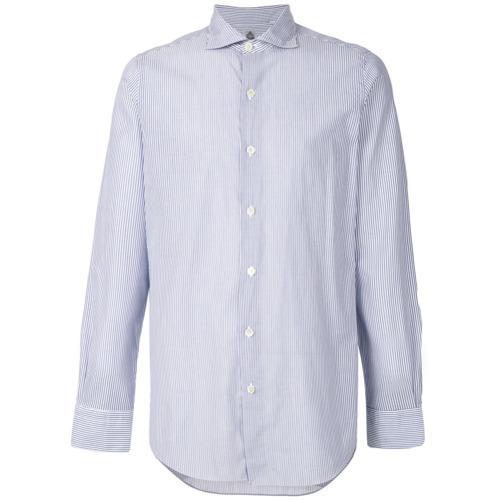 ... Camisa de manga larga de rayas verticales en blanco y azul de Finamore  1925 Napoli ... 97112f3892e41