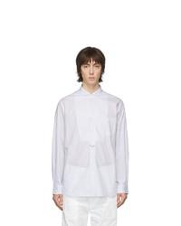 Camisa de manga larga de rayas verticales en blanco y azul de Junya Watanabe