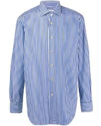 Camisa de manga larga de rayas verticales en blanco y azul de Kiton