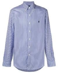 Camisa de manga larga de rayas verticales en blanco y azul de Ralph Lauren