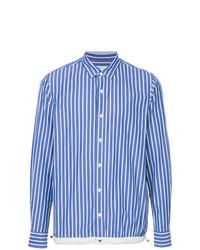 Camisa de manga larga de rayas verticales en blanco y azul de Sacai