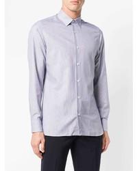 Camisa de manga larga de rayas verticales en blanco y azul de Z Zegna