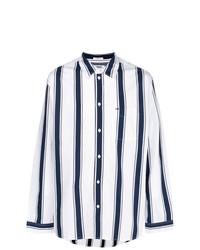 Camisa de manga larga de rayas verticales en blanco y azul de Tommy Jeans