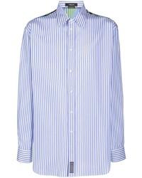 Camisa de manga larga de rayas verticales en blanco y azul de Versace