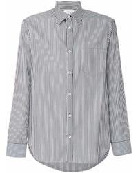 Camisa de Manga Larga de Rayas Verticales en Blanco y Negro de Maison Margiela