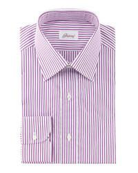 Camisa de manga larga de rayas verticales en blanco y rojo