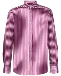 Camisa de manga larga de rayas verticales en blanco y rojo de Brunello Cucinelli