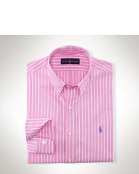 Camisa de manga larga de rayas verticales en blanco y rosa