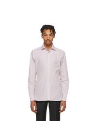 Camisa de manga larga de rayas verticales en blanco y rosa de Ermenegildo Zegna