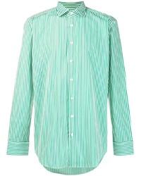 Camisa de manga larga de rayas verticales en blanco y verde de Etro