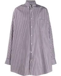 Camisa de manga larga de rayas verticales en blanco y violeta de Maison Margiela
