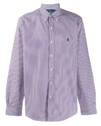 Camisa de manga larga de rayas verticales en blanco y violeta de Ralph Lauren