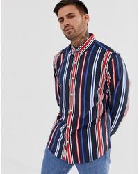Camisa de manga larga de rayas verticales en multicolor de Original Penguin