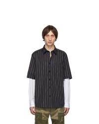 Camisa de manga larga de rayas verticales en negro y blanco de Diesel