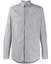 Camisa de manga larga de rayas verticales en negro y blanco de Fendi