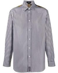 Camisa de manga larga de rayas verticales en negro y blanco de Versace