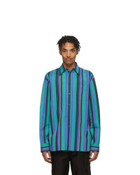 Camisa de manga larga de rayas verticales en turquesa de Marni