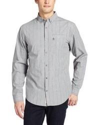Camisa de manga larga de rayas verticales gris