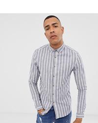 Camisa de manga larga de rayas verticales gris de ASOS DESIGN