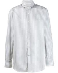 Camisa de manga larga de rayas verticales gris de Brunello Cucinelli