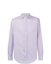 Camisa de manga larga de rayas verticales gris de Etro