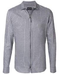 Camisa de manga larga de rayas verticales gris de Giorgio Armani