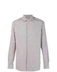 Camisa de manga larga de rayas verticales gris de Kiton