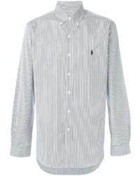Camisa de manga larga de rayas verticales gris de Polo Ralph Lauren
