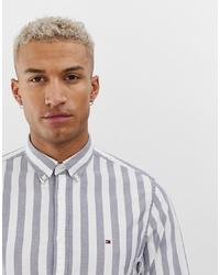Camisa de manga larga de rayas verticales gris de Tommy Hilfiger