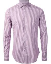 Camisa de manga larga de rayas verticales morado