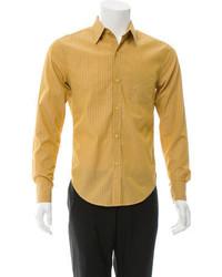 d603f064b4 Chaquetón en beige Camisa de manga larga de rayas verticales mostaza ...