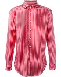 Camisa de manga larga de rayas verticales roja