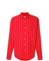 Camisa de manga larga de rayas verticales roja de AMI Alexandre Mattiussi