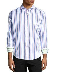 Camisa de manga larga de rayas verticales violeta claro