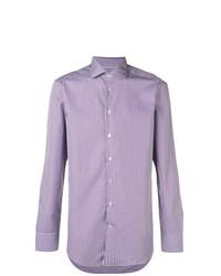 Camisa de manga larga de rayas verticales violeta claro de Etro