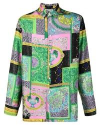 Camisa de manga larga de seda de patchwork en multicolor de Versace Collection