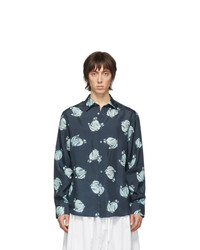 Camisa de manga larga de seda estampada azul marino de Lanvin
