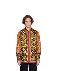 Camisa de manga larga de seda estampada en multicolor de Versace